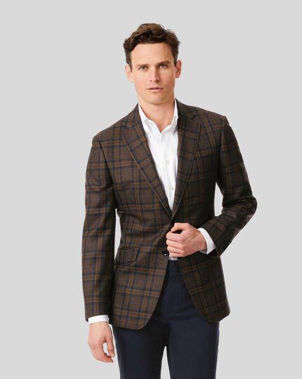 Textured Wool Jacket - Brown & Navy