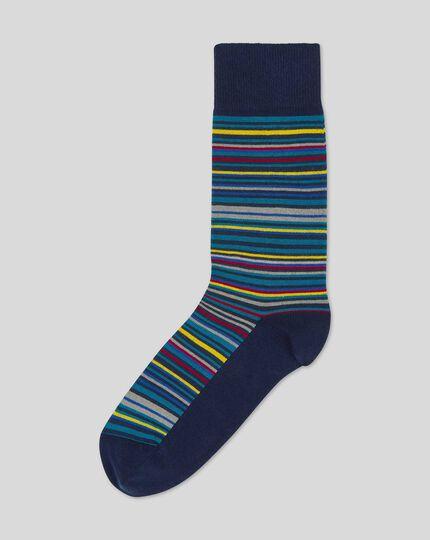 Gestreifte Socken in Bunt - Aquamarin