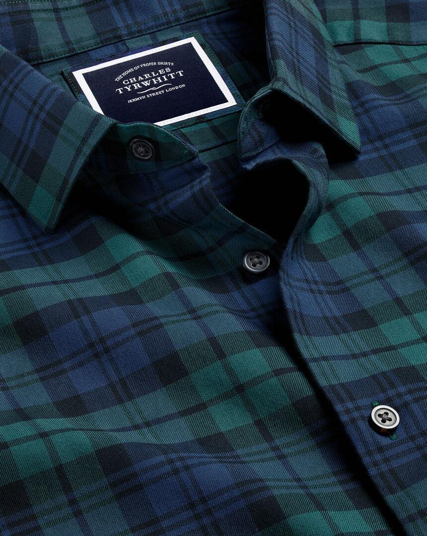 Blackwatch Check Flannel Shirt - Navy & Green