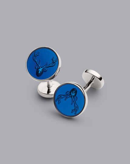 Emaille-Manschettenknöpfe mit Hirsch-Design - Marineblau