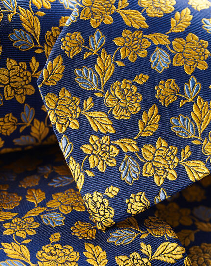 Silk English Luxury Design Tie - Royal Blue & Sunflower