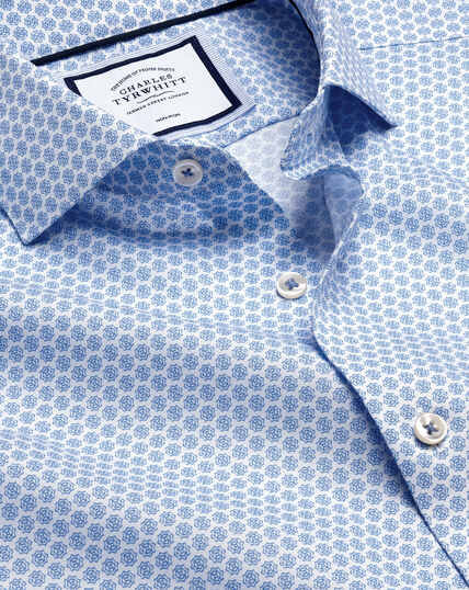 Semi-Spread Collar Non-Iron Print Shirt - Blue & White