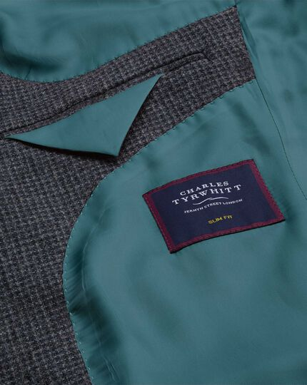 Puppytooth Textured Wool Jacket - Blue