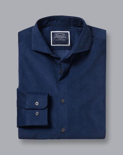 Spread Collar Fine Corduroy Shirt - Royal