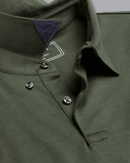 Smart Long Sleeve Jersey Polo - Olive