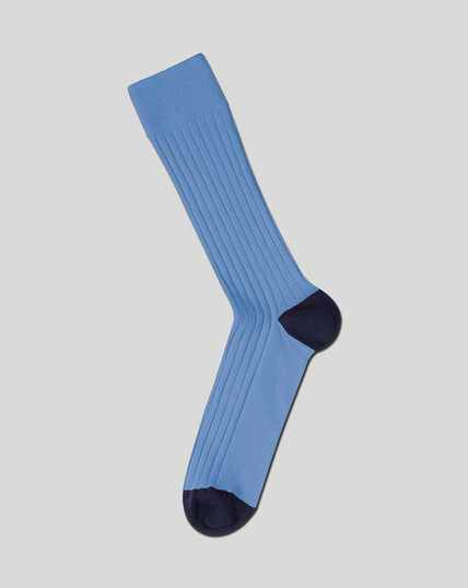 Cotton Rib Socks - Sky Blue