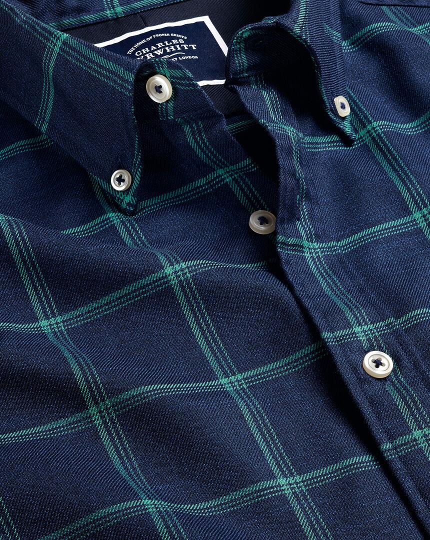 Button-Down Collar Non-Iron Twill Windowpane Check Shirt - Navy & Green