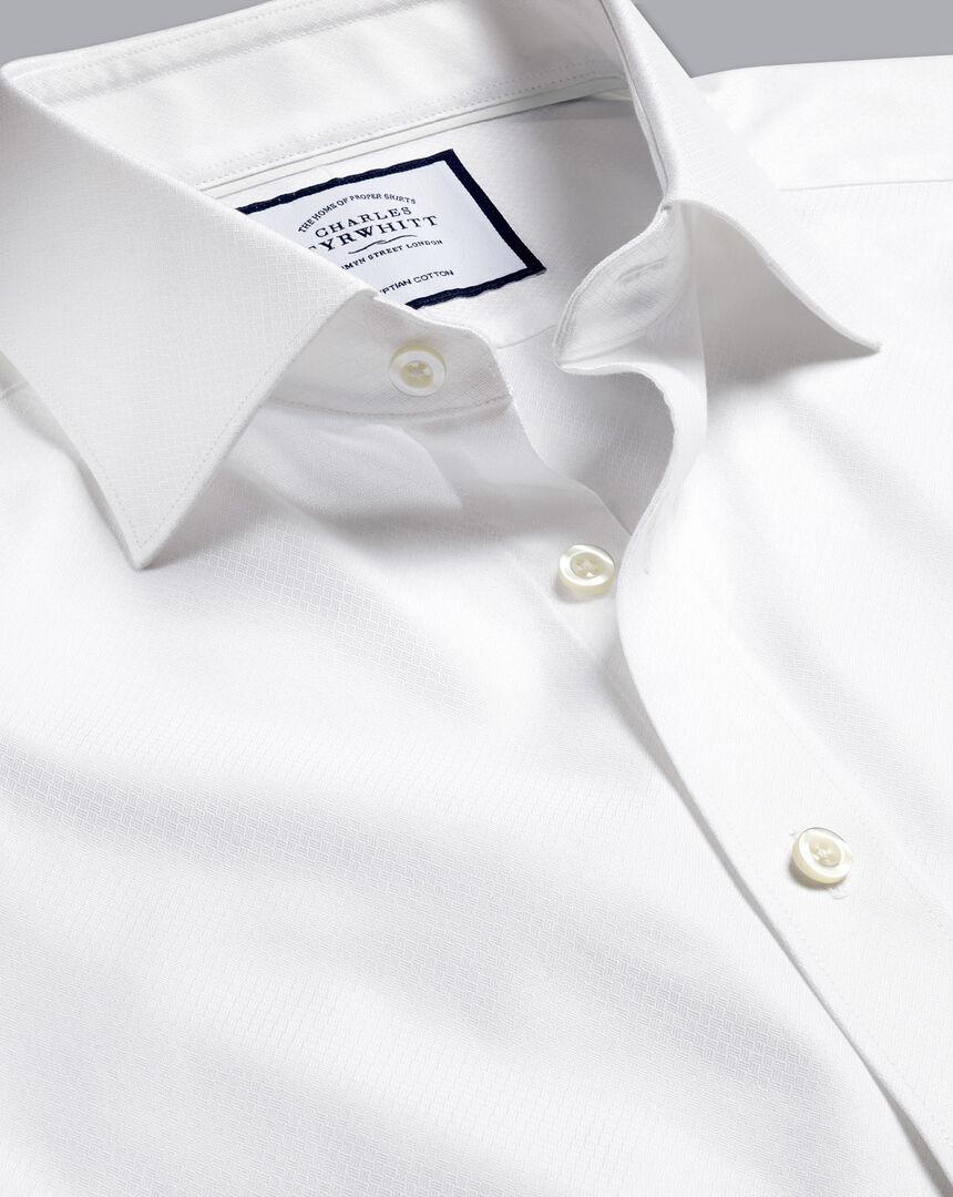 Semi-Cutaway Egyptian Cotton Deco Weave Shirt - White