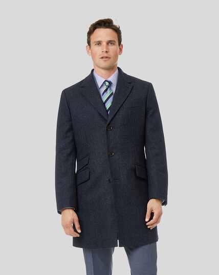 Herringbone British Wool Cotton Epsom Coat - Navy