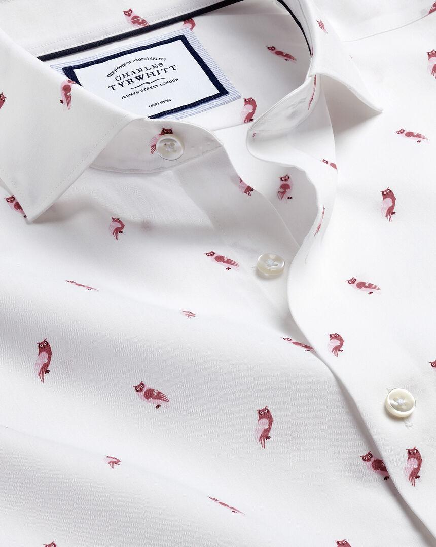Semi-Spread Collar Non-Iron Owl Print Shirt - Pink