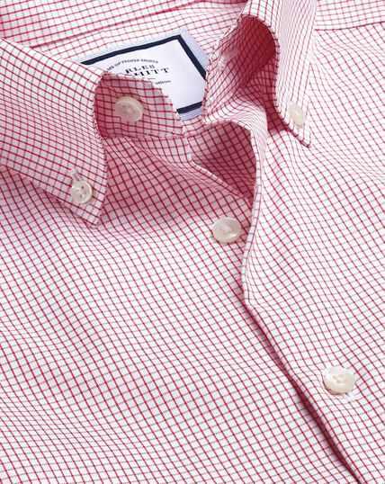 Button-Down Collar Non-Iron Small Check Shirt - Red