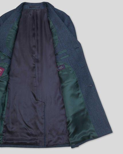 Herringbone British Wool Cotton Epsom Coat - Blue