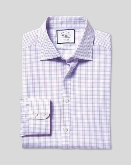 Semi-Spread Collar Egyptian Cotton Poplin Check Shirt - Lilac