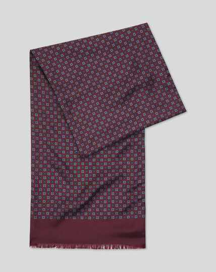 Printed Silk Scarf  - Burgundy