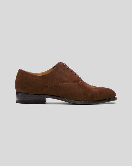 Goodyear-rahmengenähte Oxford-Schuhe mit Zehenkappe aus Wildleder - Walnussbraun