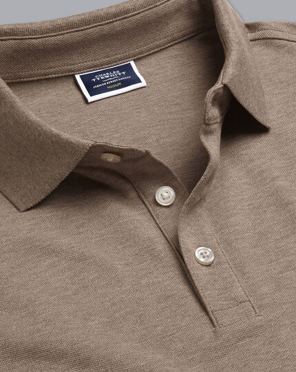 Tyrwhitt Long Sleeve Pique Polo - Mocha