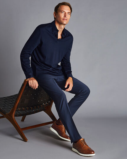Wool Blend Stretch Check Trousers - Navy