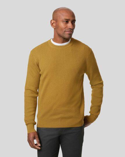 Wool Cotton Rib Jumper - Dark Yellow