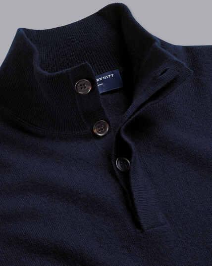 Pullover aus Merino-Kaschmir mit Knöpfen - Marineblau