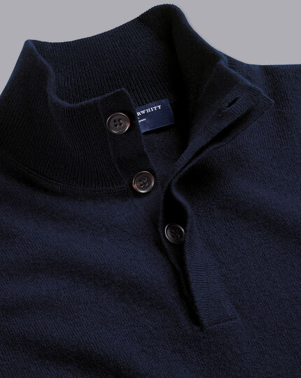 Merino Cashmere Button Neck Jumper - Navy