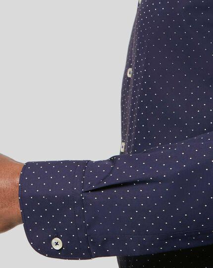 Bügelfreies Hemd mit Semi-Haifischkragenund Punkten - Marineblau