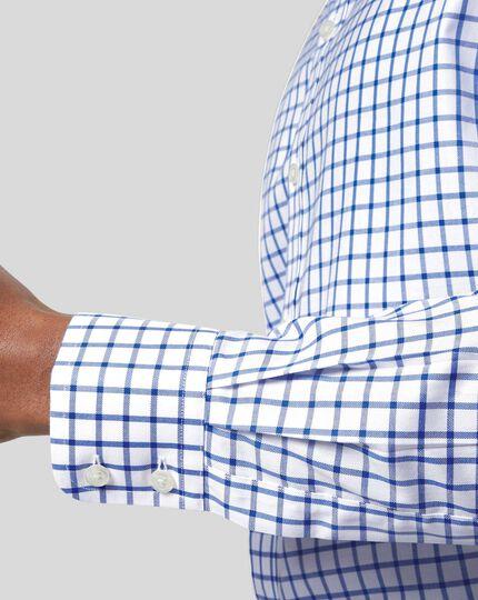 Non-Iron Twill Grid Check Shirt - Royal Blue