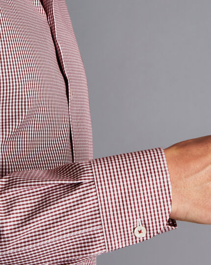 Bügelfreies Hemd mit Button-down-Kragen und Karos - Rot