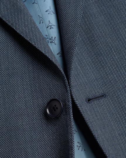 Birdseye Travel Suit Jacket - Light Blue