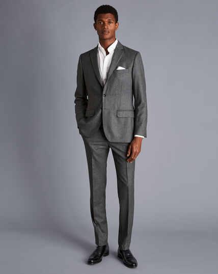 Italian Luxury Stretch Flannel Suit Jacket - Grey