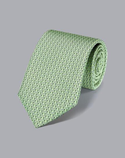 Horseshoe Silk Print Tie - Light Green