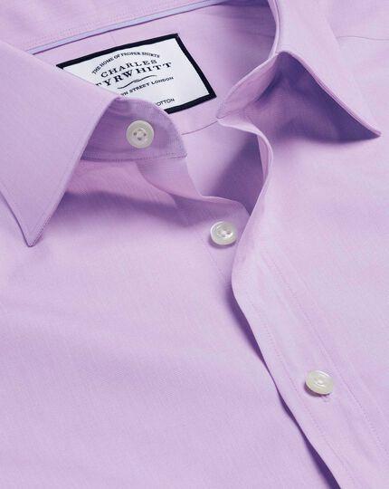 Semi-Cutaway Collar Egyptian Cotton Poplin Shirt - Lilac