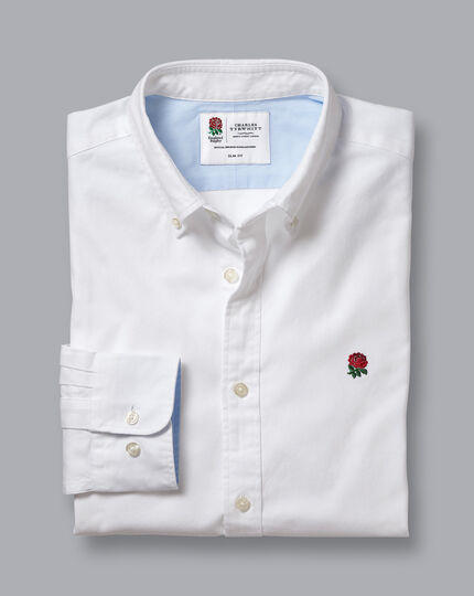 England Rugby Button-Down Collar Washed Oxford Shirt with Red Rose - White