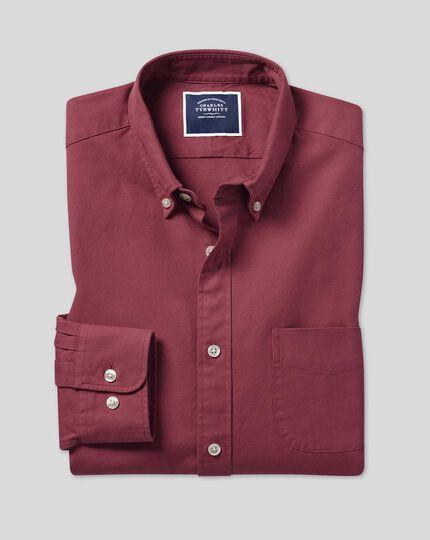 Button-Down Collar Washed Oxford Shirt - Burgundy