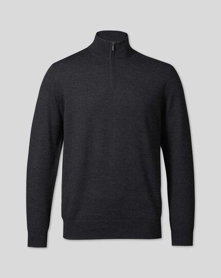 Merino Zip Neck Jumper - Charcoal Grey