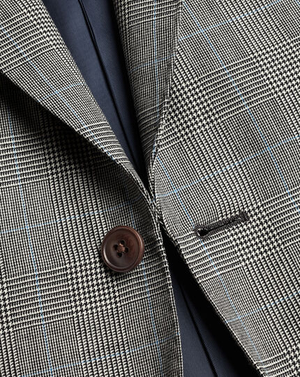British Luxury Prince of Wales Check Suit Jacket - Grey
