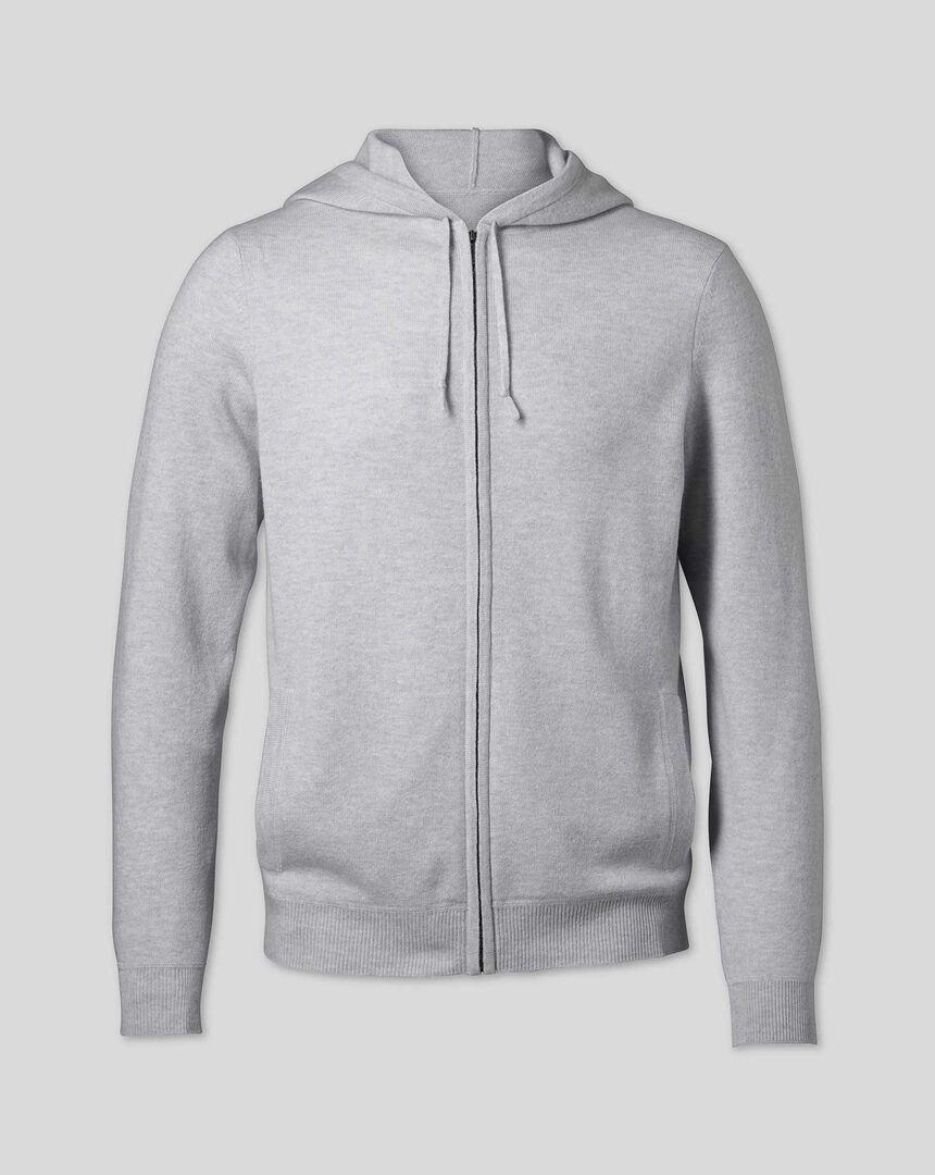Merino Cashmere Hooded Zip Through Sweater - Silver