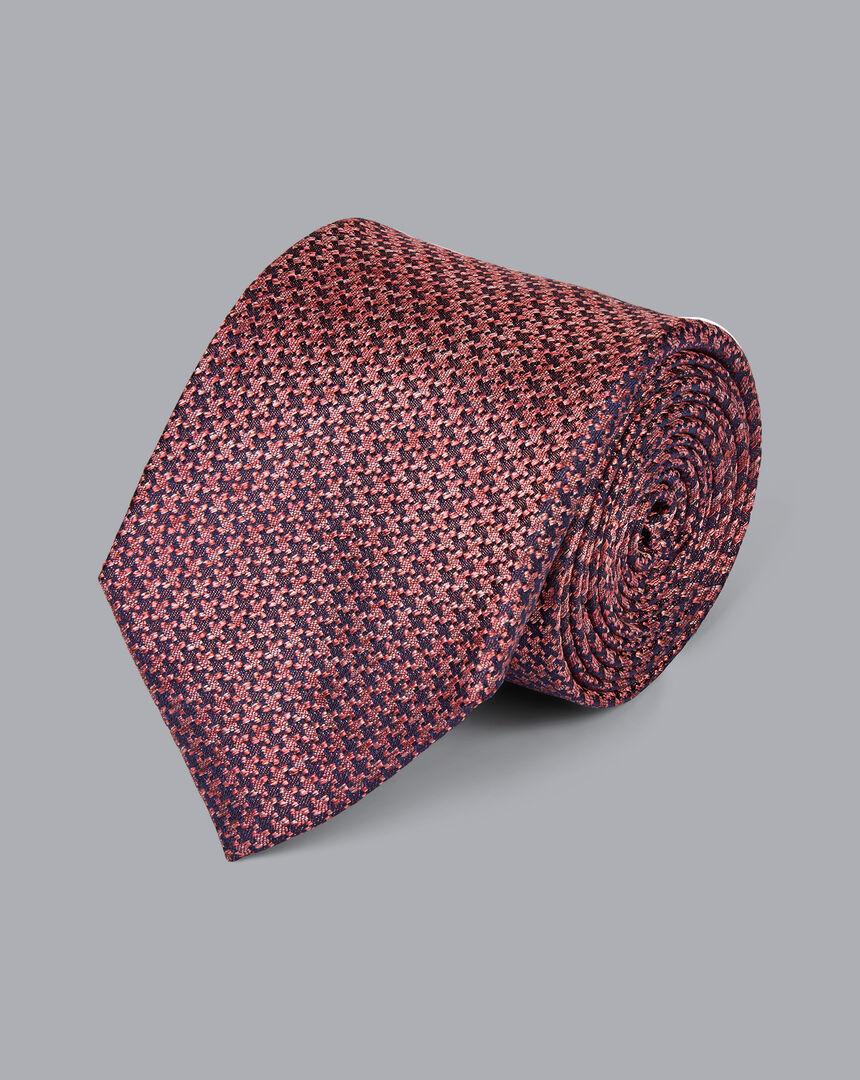 Silk Melange Puppytooth Tie - Coral