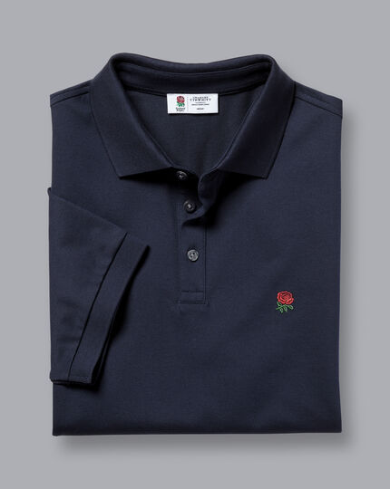 England Rugby Red Rose Pique Polo - Navy