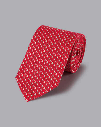 Lapwing Print Tie - Red & White