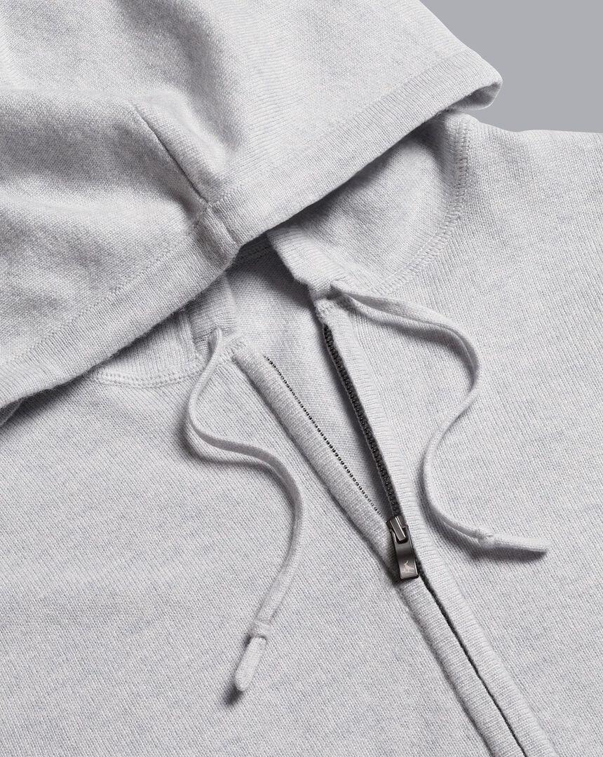 Hoodie aus Merino-Kaschmirmit Reißverschluss - Silber
