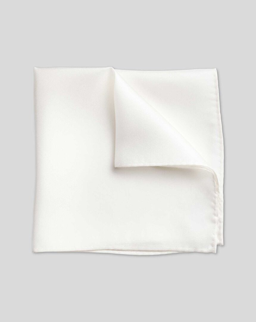 Evening Silk Pocket Square - White