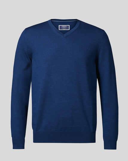 Merino V-Neck Jumper - Royal Blue