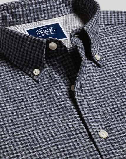 Bügelfreies Twill Hemd mit Button-down-Kragen und Gingham-Karos - Blau & Marineblau