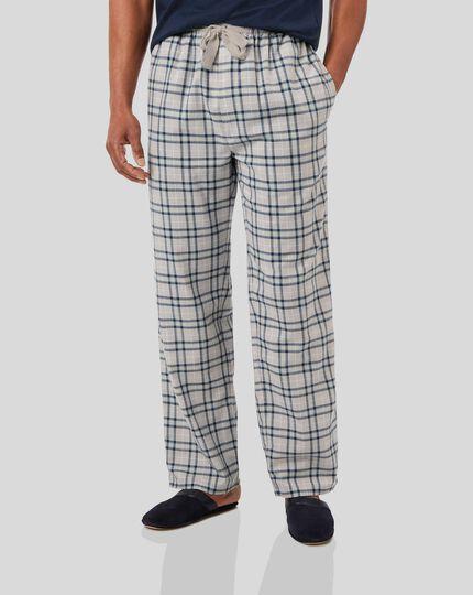 Check Pyjama Bottoms - Chalk & Denim Blue