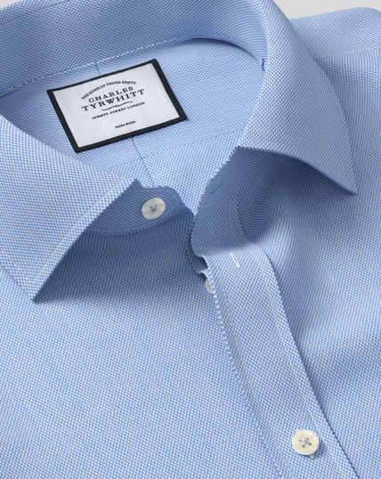 Bügelfreies Hemd mit Micro-Diamond-Muster - Blau