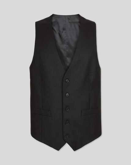 Birdseye Travel Suit Waistcoat - Charcoal Grey