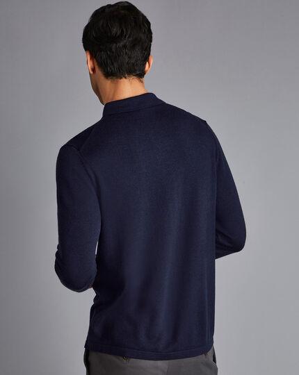 Merino Shirt Cardigan - Navy
