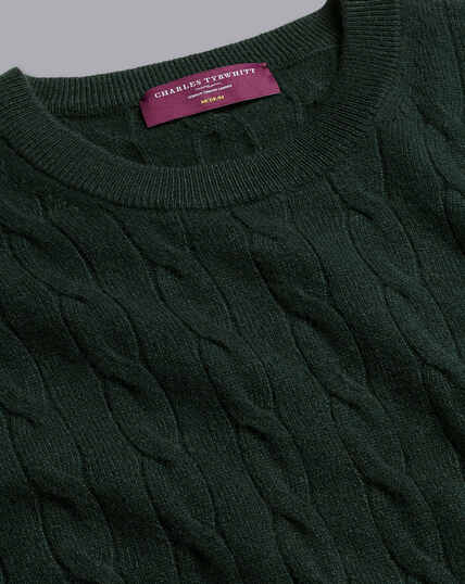 Cashmere Cable Knit Crew Neck Sweater - Forest Green