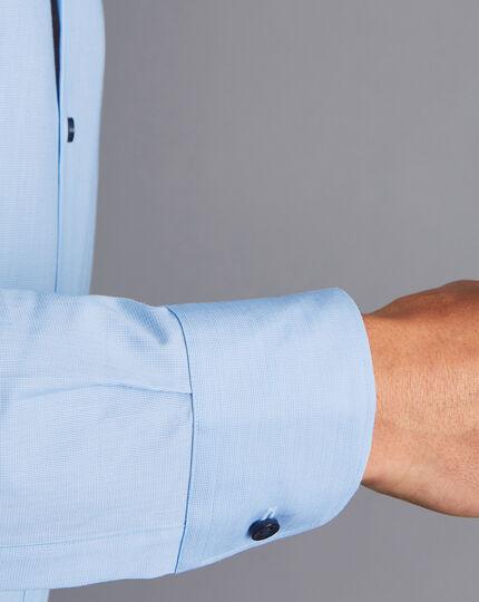 Semi-Cutaway Collar Twill Printed Trim Shirt - Sky Blue