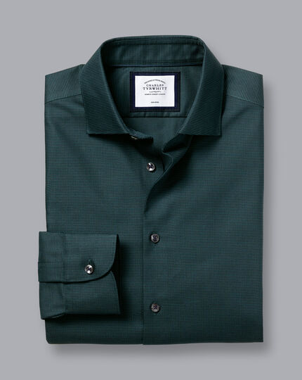 Semi-Cutaway Collar Non-Iron Stretch Texture Shirt - Blue & Green